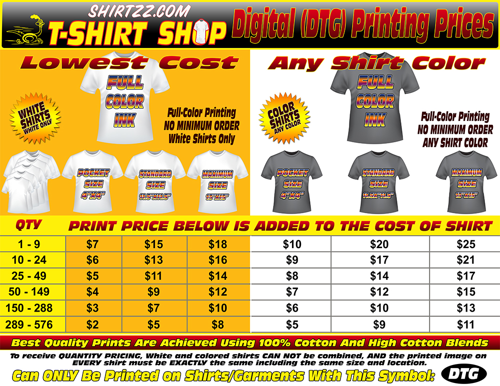 Welcome to Shirtzz.com T-Shirt Shop. See Pricing For Different ...