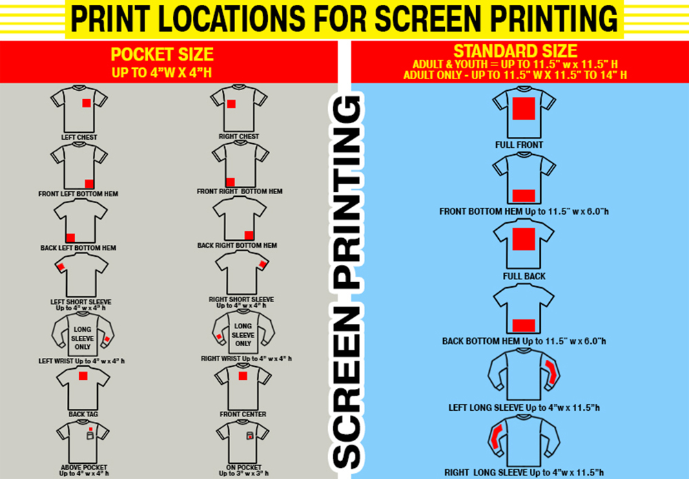 Print locations for screen printing t shirt shop for Full size t shirt printing
